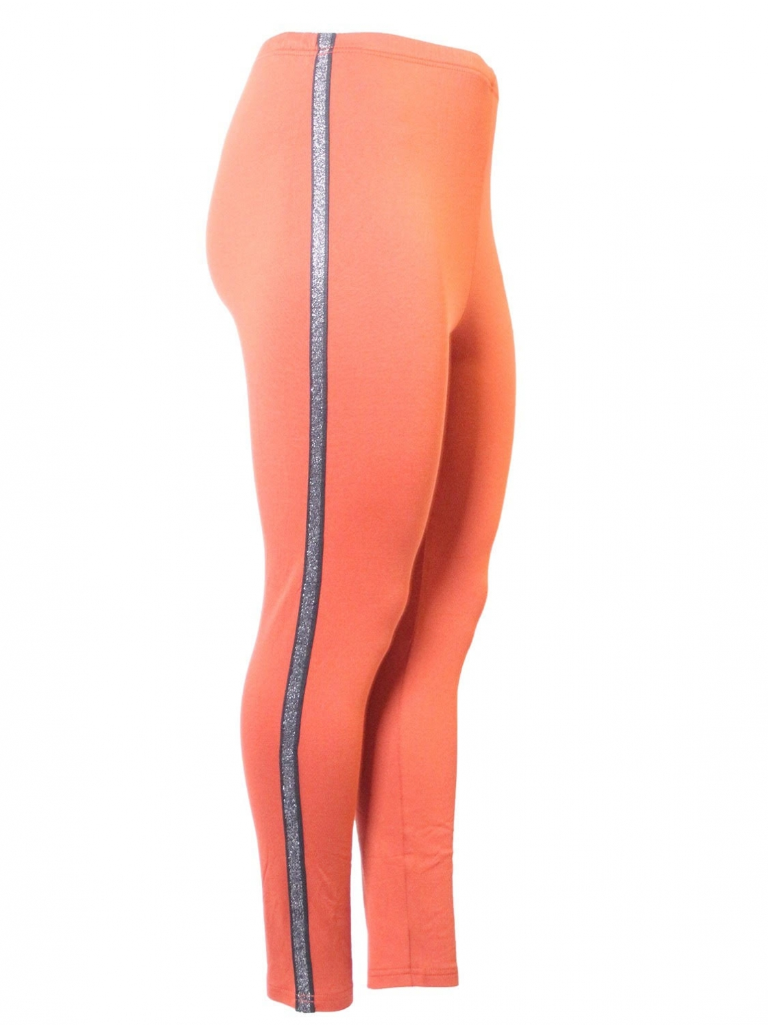 Legging orange, bande argentée